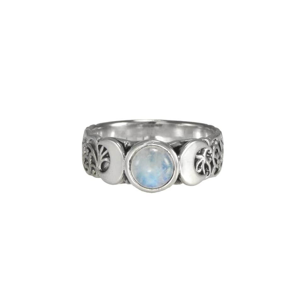 Triple Crescent Moon Goddess Rainbow Moonstone Ring Sterling Silver Wicca Pagan Jewelry (sz 4 15)