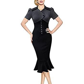 Sunblume Women's Vintage Fishtail Short Sleeve Slim Retro Evening Dress