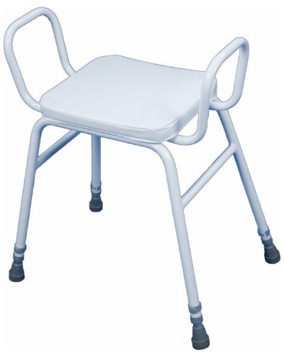 Quality height Adjustable Shower / Kitchen Perching Stool - with Arms