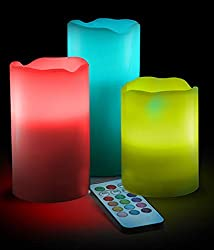COLOUR CHANGING FLAMELESS CANDLES(SET OF 3 CANDLES)