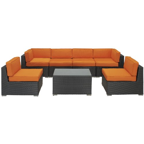 LexMod Aero Outdoor Wicker Patio 7-Piece Sectional Sofa Set in Espresso with Orange Cushions