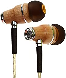 Symphonized NRG 2.0 Premium Genuine Wood In-ear Noise-isolating Headphones Earbuds Earphones with Innovative Shield Technology Cable and Mic (Gold)
