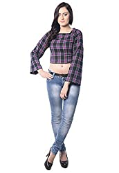 iamme Pink & Black Check Crop Top with Bell Sleeves