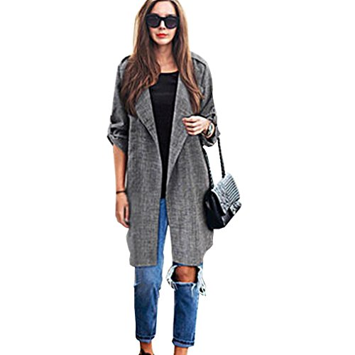Clearance Sale! Women Cardigan Coat,Canserin Womens Long Sleeve Cardigan Coat Open Front Trench Coat Lady Long Cloak Jackets Overcoat Fashion Waterfall Cardigan US Size 6-18 (XL, Gray) (Details Plaid Coat compare prices)