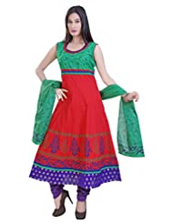 Divinee Red And Green Cotton Readymade Anarkali Suit