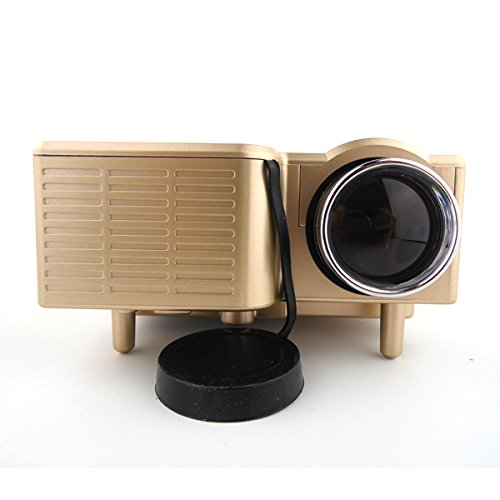 "Aometech Mini Multimedia Lcd Image System Home Led Digital Projector 60"" Cinema Theater, Pc Laptop Vga Input Usb Uc28(Sd / Usb / Av / Vga /Hdmi Port) (Gold)"
