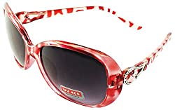 Viaano Oval Sunglasses (Red, Vi-FTF16-03)