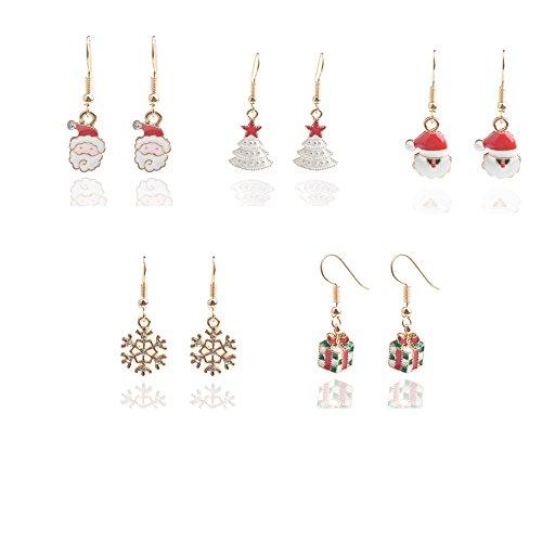 deschmuck-5-pair-colorful-christmas-dangle-earrings-set-for-women-girls-a-gift-of-love-xmas