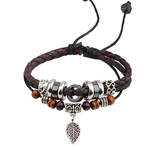 Snowman Lee Silver Leaf Pendant Music Character Clasp Beads Thick Rope Woven Handmade Leather Wrap Bracelet