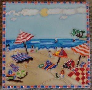beach scene decorative ceramic wall art tile 6x6 home kitchen. Black Bedroom Furniture Sets. Home Design Ideas