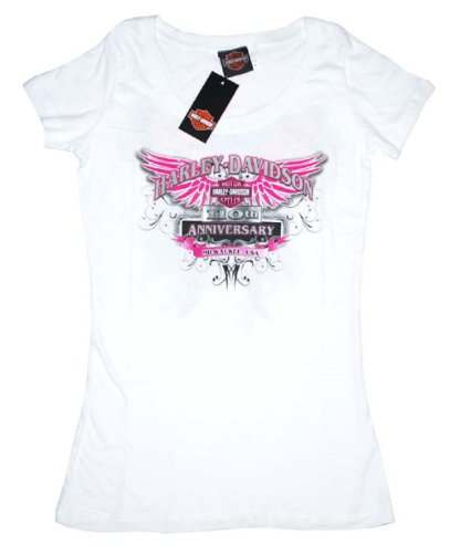 House of Harley-Davidson® Women's Harley-Davidson® Winged Bar & Shield 110th Anniversary T-Shirt. House of Harley-Davidson® Graphics on Back. White. Tee. 302962680