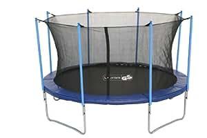 Advendise Trampolin 366 cm mit Sicherheitsnetz bis 150kg, schwarz/blau, 366 cm