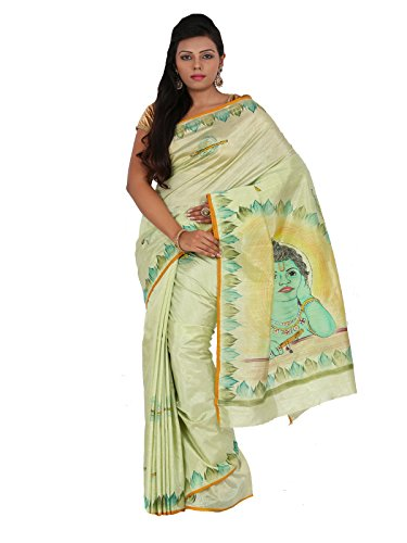 Alankrita Dupion Raw Silk Brush Painted Kanchipuram Art Silk Sarees With Stones(Light Pista Green)