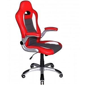 Hjh office racer sport sedia da ufficio girevole finta pelle bianco rosso casa e - Sillas despacho amazon ...