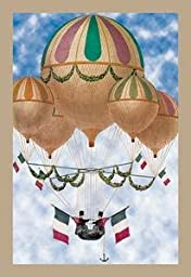 30 x 20 Canvas. Balloon Flotill Highly Decorated Balloons sport the Italian Flag and its colors