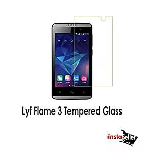 Insta Seller Tempered Glass for Lyf Flame 3 , 0.3mm thickness, 9H Hardness, 2.5D Curved Edge, Reduce Fingerprint, No Rainbow, Shatterproof, Bubble Free & Oil Stains Coating with Alcohol wet cloth pad & clean micro fibre Dry cloth, Anti Explosion Tempered Glass Screen Protector