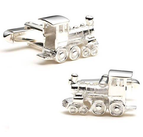 Antique Train Engine Sterling Silver Cufflinks Cuff Links