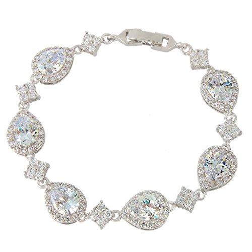 EVER-FAITH-Silver-Tone-Full-Zircon-Wedding-Tear-Drop-Link-Bracelet-Clear