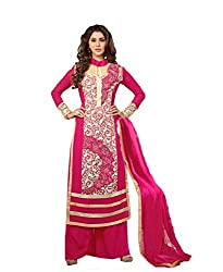 Amyra Women's Georgette Dress Material (AC794-09, Pink)
