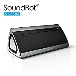 SoundBot SB520PRO High-Performance 3D HD Bluetooth 4.0 Wireless Speaker w 15Hrs Music Streaming & Hands-Free Talk, Dual Membrane Passive Sub Woofer, 5W+5W 50mm Driver, Built-in Mic & 2200mAh Battery