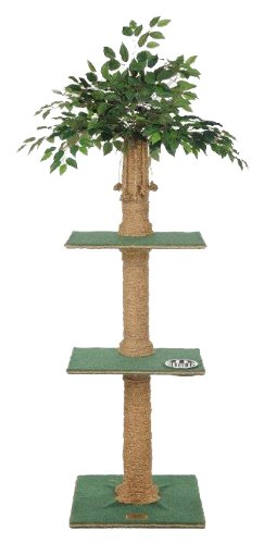 Kitty Palm Cat Tree with Ficus Foliage Top, Green Carpet, Manila Rope, 2 Platform, 60 Inches