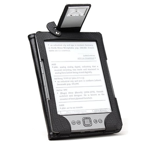 MiniSuit Leather Folio Case Cover with LED Reading Book Light for  Kindle 4 4th Gen