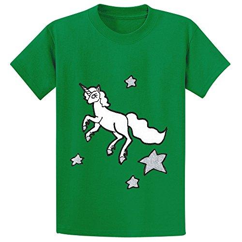 Unicorn Unicorn Fly Star Child Crew Neck T Shirt Green