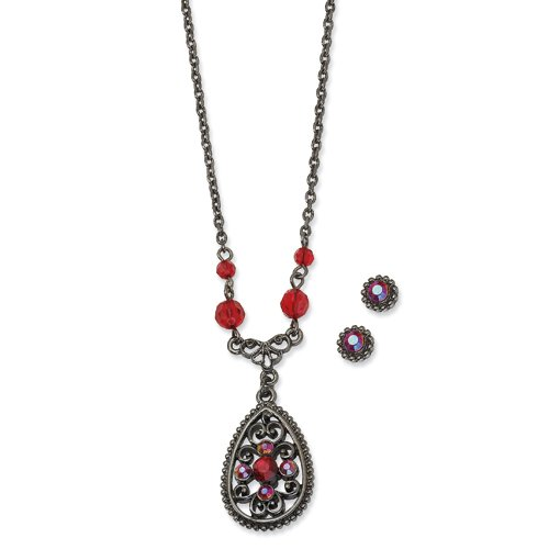 1928 Boutique Black-plated Red Crystal Filigree Earrings & 16in Necklace Set
