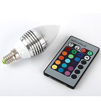 aitao e14 rgb led lampe birne licht leuchtmittel 16 farbe farbwechsel mit fernbedienung 3w 110. Black Bedroom Furniture Sets. Home Design Ideas