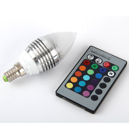 {Factory Direct Sale} Ac 110-240V 3W E14 16 Color Changing Rgb Candle Led Light Bulb Lamp With Remote 3W