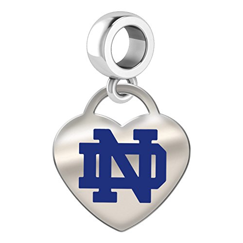 University of Notre Dame Fighting Irish Sterling Silver Color Heart Dangle Charm Bead