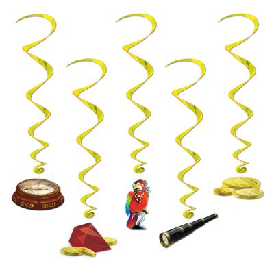 Package of Five Treasure Hunt Whirls/Parrot/Compass/Gold Whirls/Pirate Party/Birthday Party Hanging Decorations