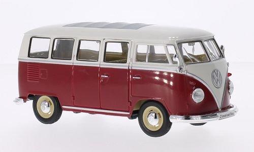 VW-T1-Bus-rotweiss-1962-Modellauto-Fertigmodell-Welly-124