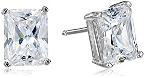 Platinum Plated Sterling Silver Emerald-Cut Cubic Zirconia Stud Earrings (4 cttw)