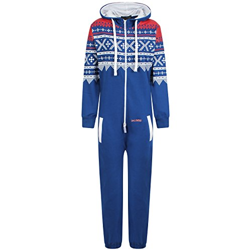 Mens-Unisex-Aztec-Print-Zip-Up-Oska-Onesie-All-In-One-Hooded-Jumpsuit-Playsuit-Royal-Blue