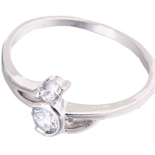 C-Princessリング 指輪 18K金メッキ コーティング ラインストーン レディース 女性 アクセサリー ジュエリー ウェディング エンゲージリング 使いやすい 優美 (9, ホワイトゴールド)