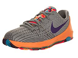 Nike Kids KD 8 (PS) Wlf Gry/Crt Prpl/Cl Gry/Bl Lgn Basketball Shoe 3 Kids US
