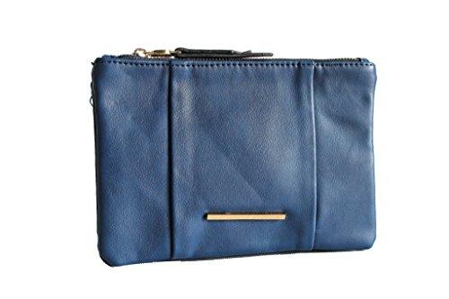Borsetta donna tracollina grande 3 scomparti LK.S.15252.blu moda italiana