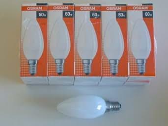 Osram Pack de 10 ampoules à incandescence bougie/flamme opaques/mates - Culot E14 - 60W