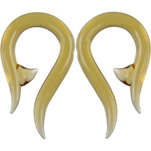 Pair of Glass Hooks: 000g Honey