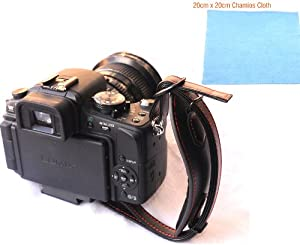 EzFoto Leather Hand Strap with Arca Swiss Type Quick Release Plate for Canon Nikon Fuji Olympus Panasonic Pentax Sigma Sony DSLRs, with 20cm x 20cm Chamois Cleaning Cloth