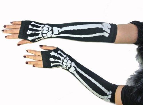 Gothic White Skeleton Long Arm Warmer Fingerless Dress Gloves