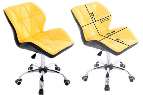 Yellow Luxury Computer Office Desk Chair PU Leather Swivel Adjustable Office Chairs