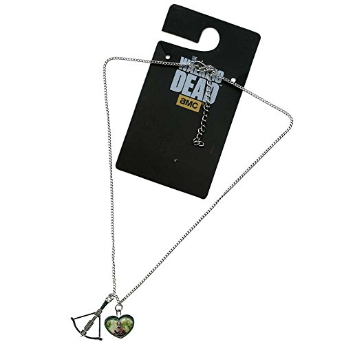 Walking Dead Daryl in Heart with Crossbow Charm Necklace
