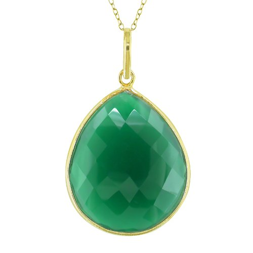 22k Yellow Gold Plated 20ct TGW Green Onyx Fashion Pendant (18 inches)