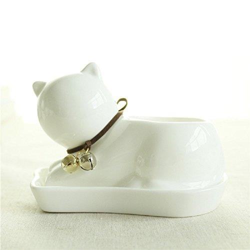 GeLive Succulent Planter Decorative Flower Pot Mini Ceramic Cat Grass Planter Plant Pots Box with Tray Saucer White Cat