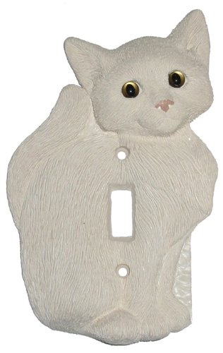 House Cat Kitten White Single Switch Plate Cover - 1