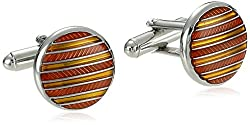 Round Circle Cufflink with Orange Epoxy Stripes