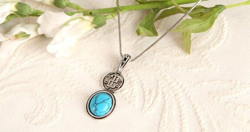 Turquoise Gemstone Sterling Silver Plated Gift Pendant Necklace .. From Hibiscus Express