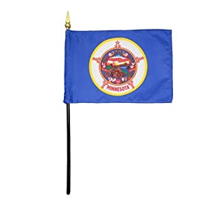 "Minnesota 1957 State Hand Held Desk Table Top Polyester Flag 4"" X 6"" on 10"" Black Plastic Staff with Gold Spear Tip (12 Pack)"